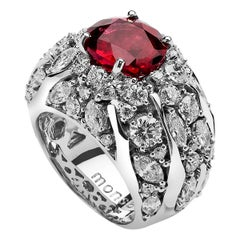 Monseo 'Arbre' 4.35 Carat Rubellite and Diamond White Gold Ring