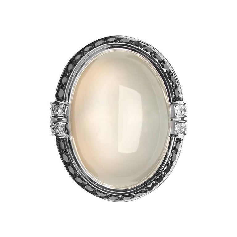 monseo moonstone cabochon white gold large cocktail ring
