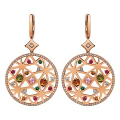 Monseo Rose Gold Diamond Peridot Tsavorite Quartz Ruby Drop Earrings