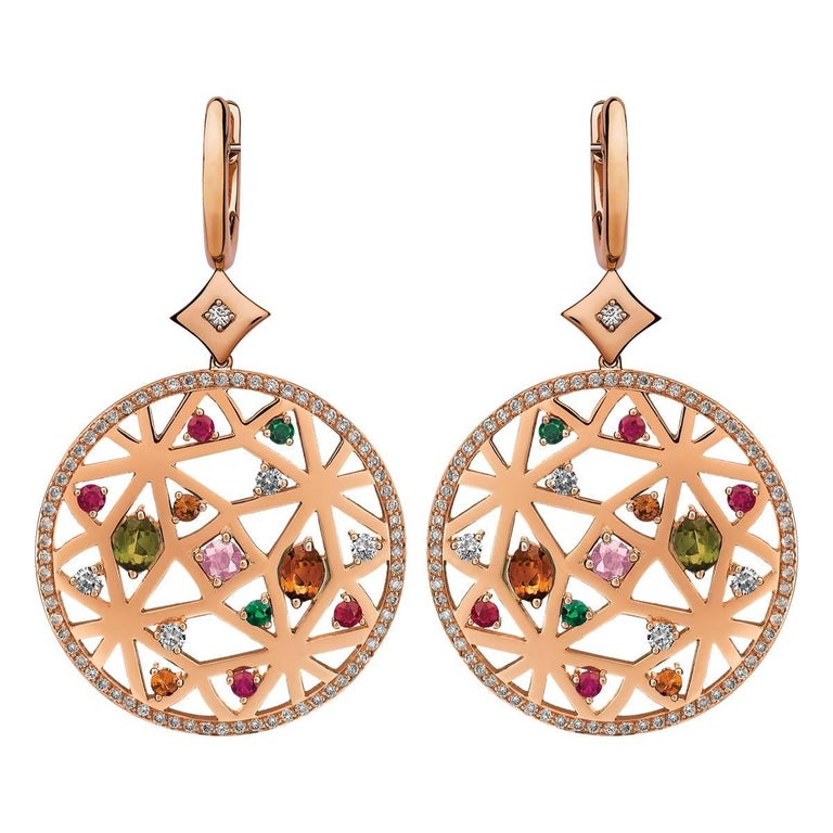 Monseo Rose Gold Diamond Peridot Tsavorite Quartz Ruby Drop Earrings
