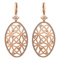 Monseo Rose Gold and Diamonds Long Earrings
