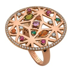 Monseo Rose Gold, Diamond, Peridot, Tsavorite, Quartz and Ruby Cocktail Ring