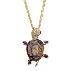 Monseo Opal, Amethyst and Ruby Yellow Turtle Yellow Gold Pendant