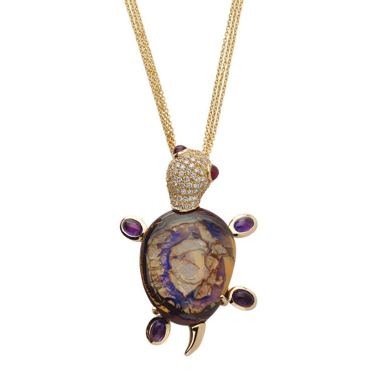 Monseo Opal, Amethyst and Ruby Yellow Turtle Yellow Gold Pendant For Sale