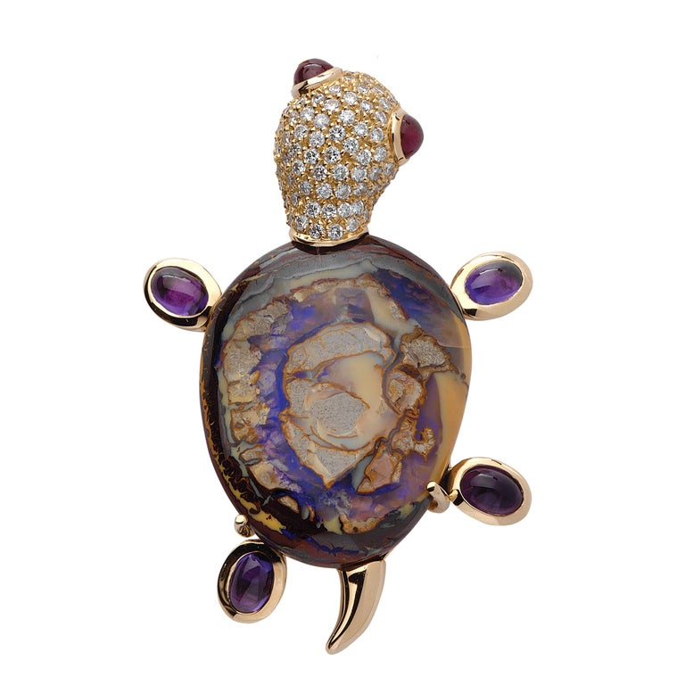 Monseo Opal, Amethyst and Ruby Yellow Turtle Yellow Gold Brooch For Sale