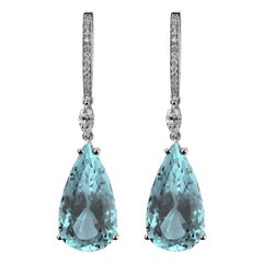 Monseo Pear Shape Aquamarine Diamond Gold Drop Earrings