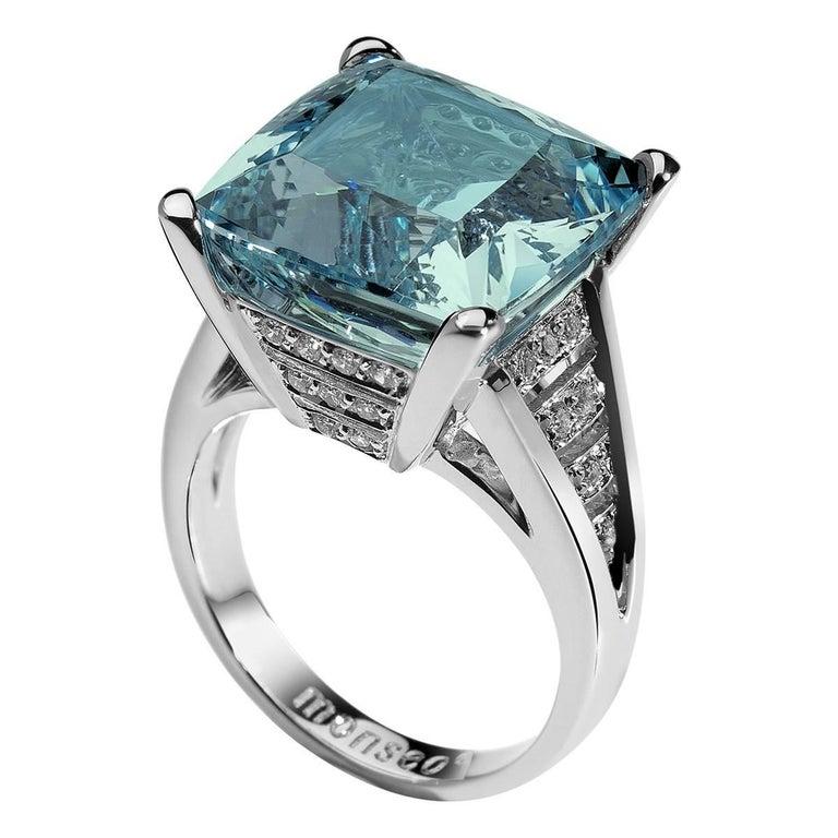 Monseo Aquamarine Diamond Gold Cocktail Ring