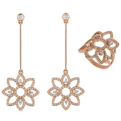 Monseo White Diamond Rose Gold Ring and Earrings Set