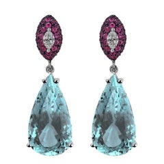 Monseo Pear Shape Aquamarine Rubies and Marquise Diamond Drop Earrings
