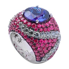 Monseo Round Tanzanite Pink Sapphire and Diamond Cocktail Ring