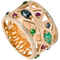 Monseo Rose Gold Sapphire, Ruby, Emerald and Diamonds Band Ring