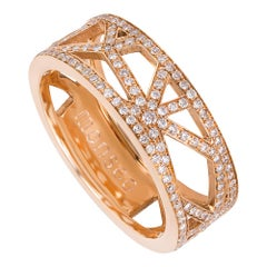 Monseo Rose Gold White Diamonds Engagement Band Ring