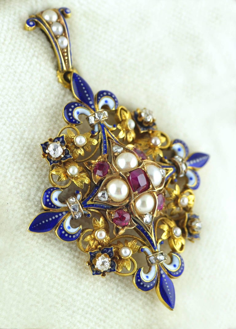 Victorian Holbeinesque Ruby Pearl Diamond And Enamel