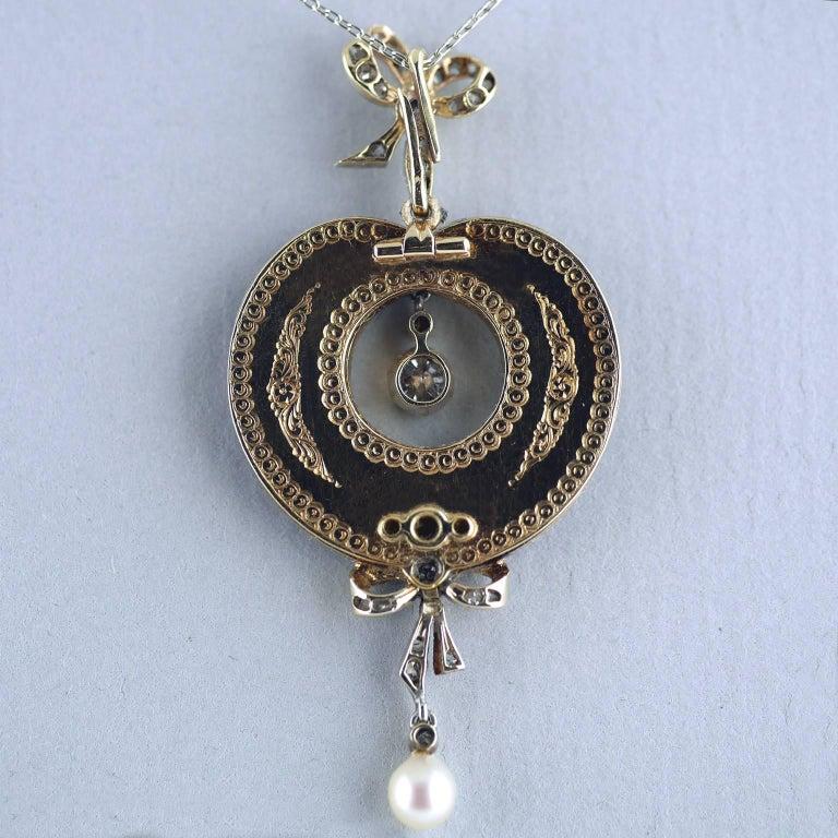 Belle Époque Guilloché Enamel Diamond Pearl Pendant For Sale 3