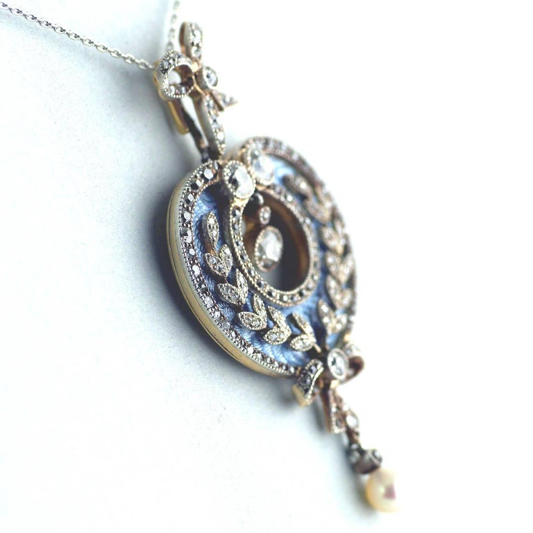 Belle Époque Guilloché Enamel Diamond Pearl Pendant 5