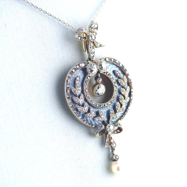 Belle Époque Guilloché Enamel Diamond Pearl Pendant 2
