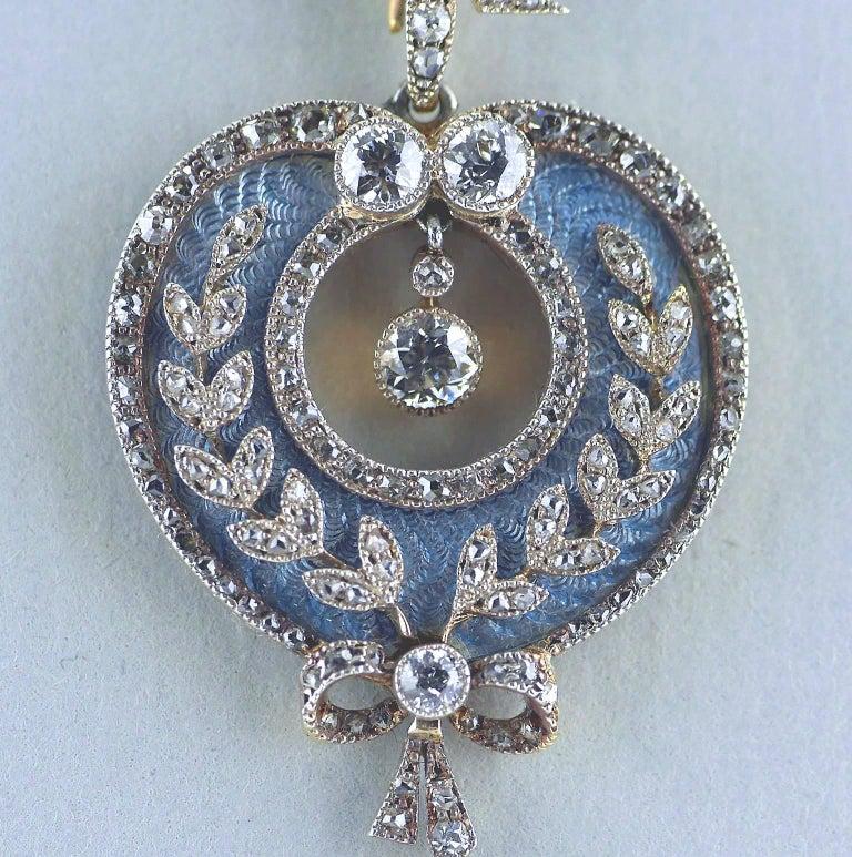 Belle Époque Guilloché Enamel Diamond Pearl Pendant 4