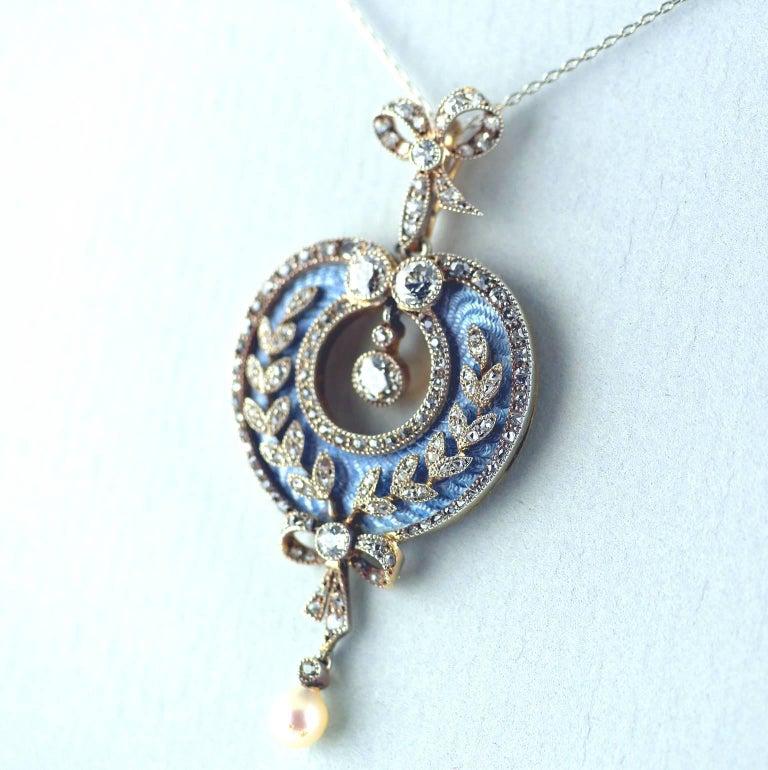 Old Mine Cut Belle Époque Guilloché Enamel Diamond Pearl Pendant For Sale