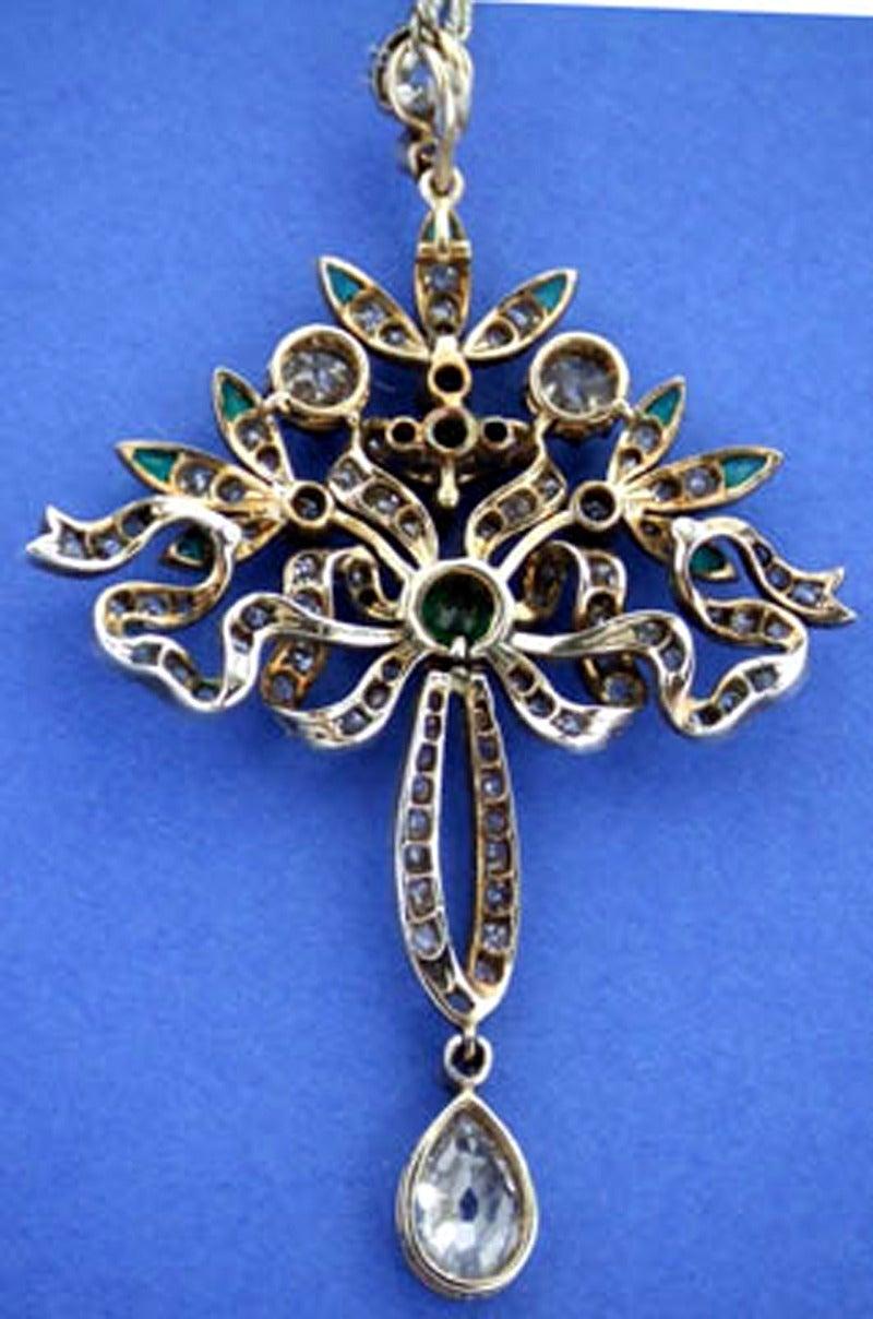 Victorian Emerald Diamond Pendant or Brooch, circa 1860 3