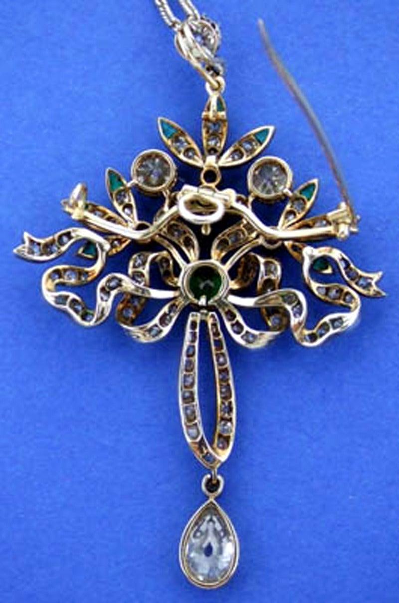 Victorian Emerald Diamond Pendant or Brooch, circa 1860 6