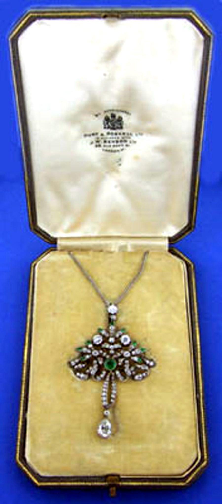 Victorian Emerald Diamond Pendant or Brooch, circa 1860 4
