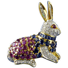 Ruby Sapphire Diamond Gold Rabbit Brooch/Pendant