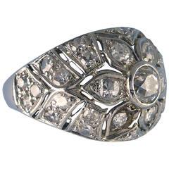 Diamond White Gold Bombe Ring, circa 1950