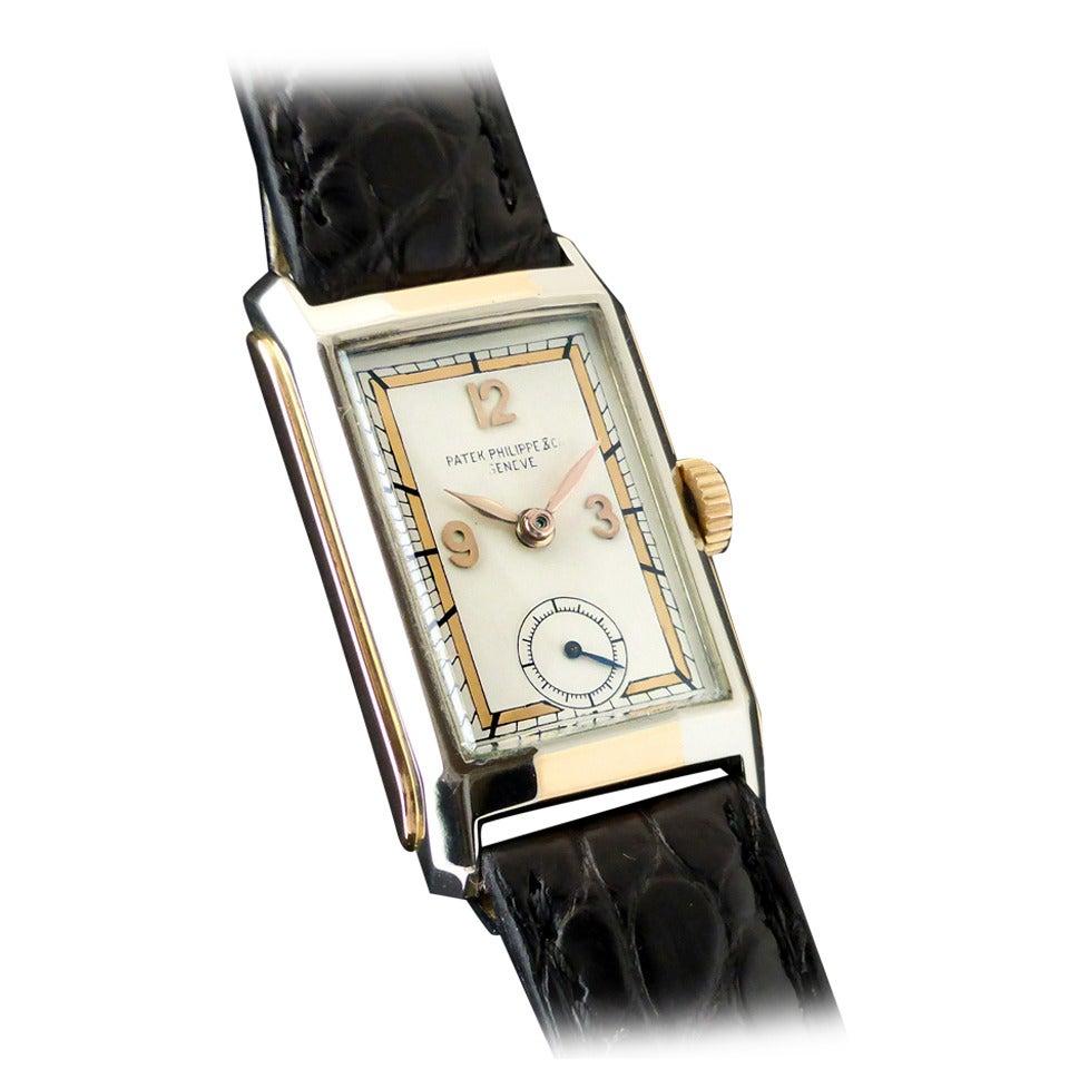 Patek Philippe White And Rose Gold Rectangular Wristwatch