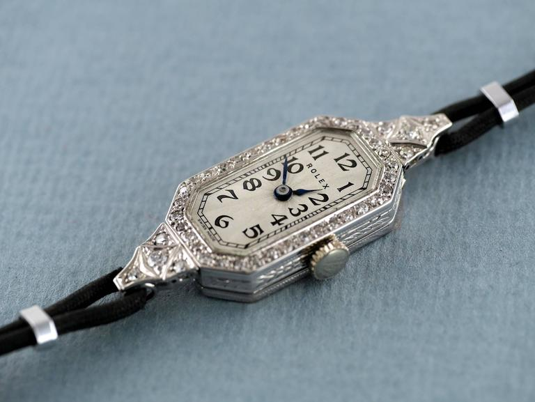 Rolex Ladies White Gold Diamond Wristwatch, 1924 In Excellent Condition For Sale In London, GB