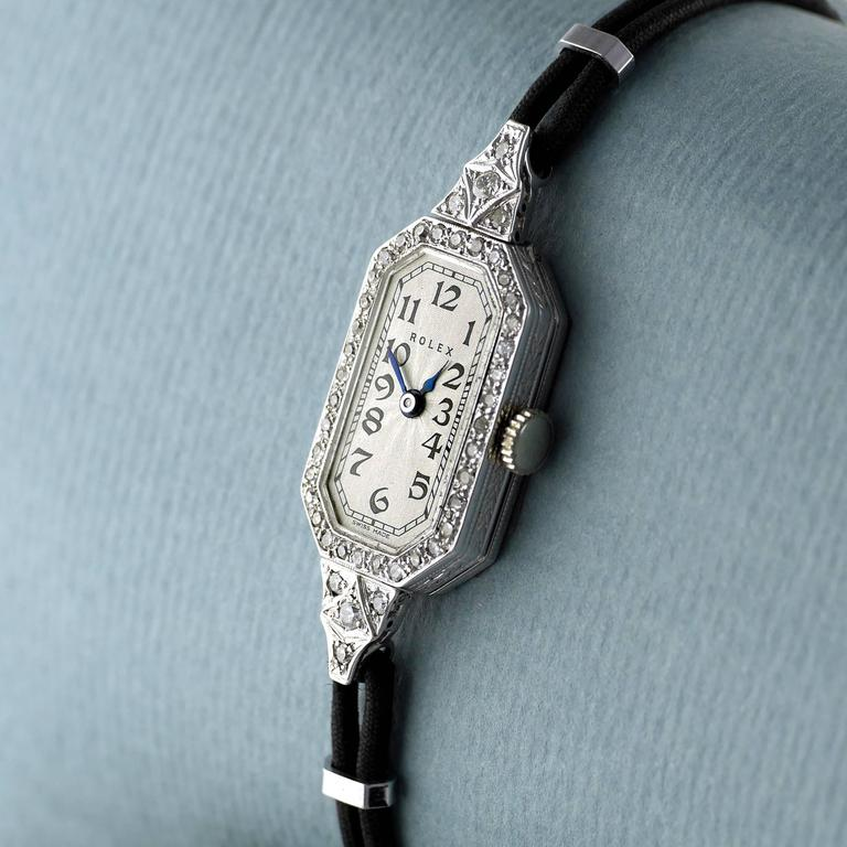 Art Deco Rolex Ladies White Gold Diamond Wristwatch, 1924 For Sale