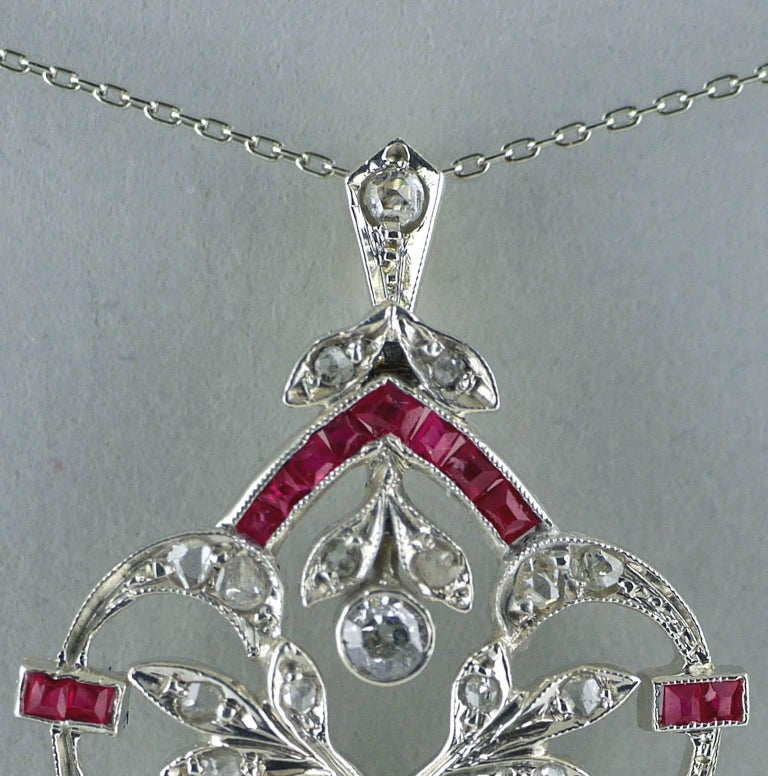 18 Carat Diamond, Ruby, Pearl, Belle Époque Pendant, circa 1910 For Sale 1