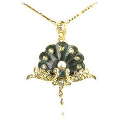 Guilloché Enamel Pearl Diamond Gold Belle Époque Pendant, circa 1900