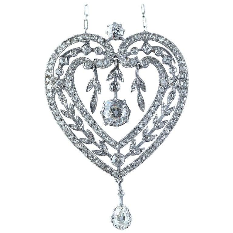 Diamond Platinum Heart Shape Belle Époque Pendant Necklace, circa 1910