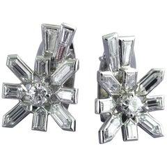 Diamond White Gold Sputnik Earrings, circa 1958