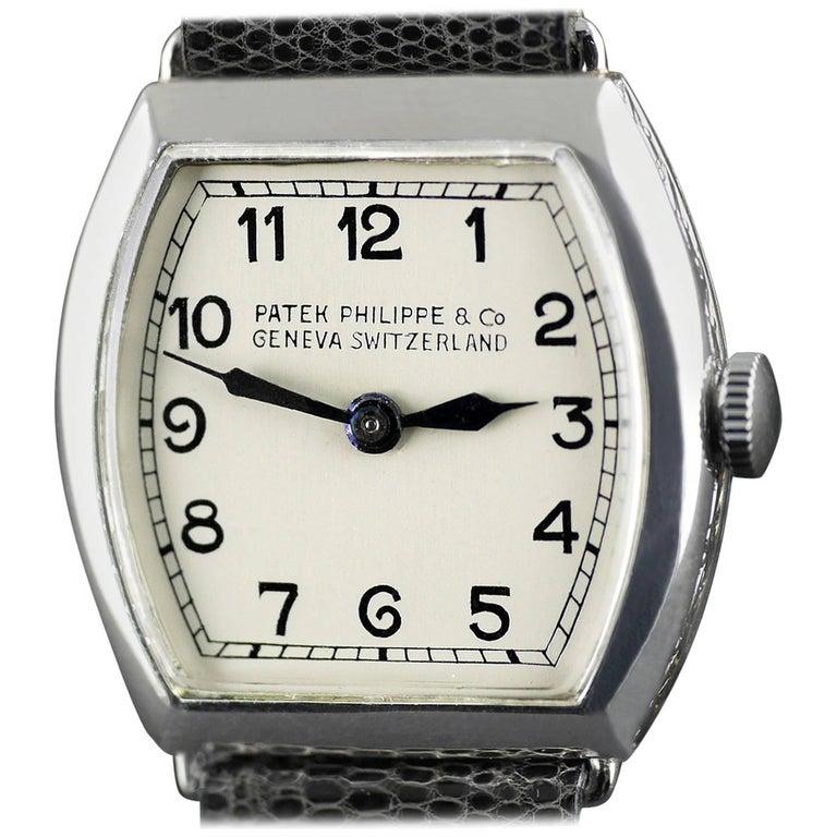 Patek Philippe Platinum Art Deco Tonneau Shaped Manual Wristwatch, 1938 For Sale