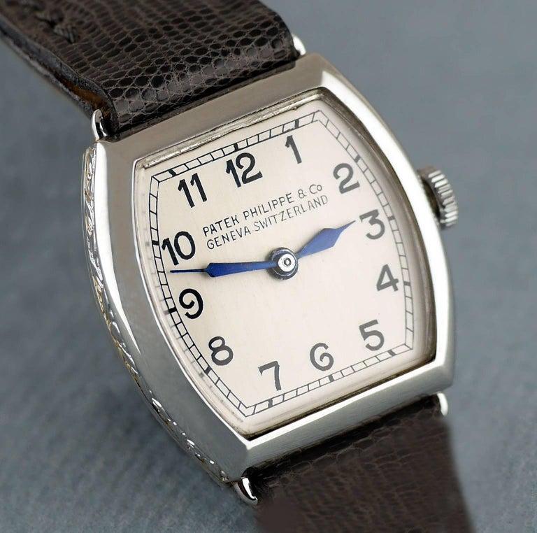 Patek Philippe Platinum Art Deco Tonneau Shaped Manual Wristwatch, 1938 In Excellent Condition For Sale In London, GB