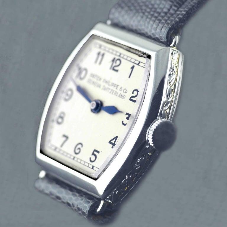 Women's Patek Philippe Platinum Art Deco Tonneau Shaped Manual Wristwatch, 1938 For Sale