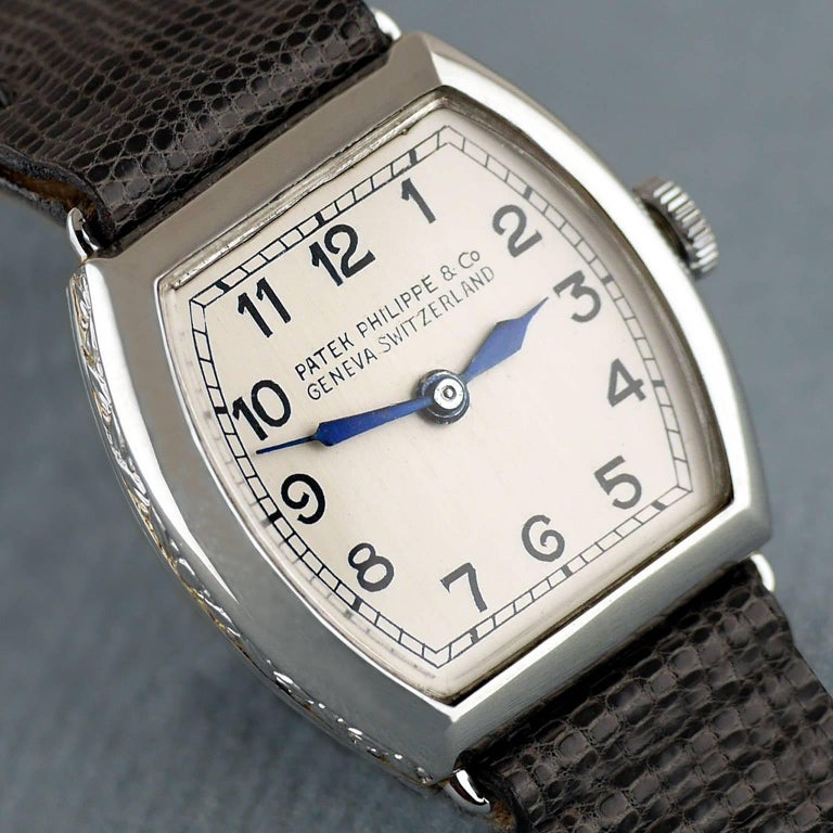 Patek Philippe Platinum Art Deco Tonneau Shaped Manual Wristwatch, 1938 For Sale 1