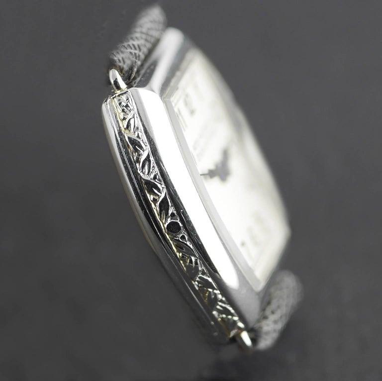 Patek Philippe Platinum Art Deco Tonneau Shaped Manual Wristwatch, 1938 For Sale 2