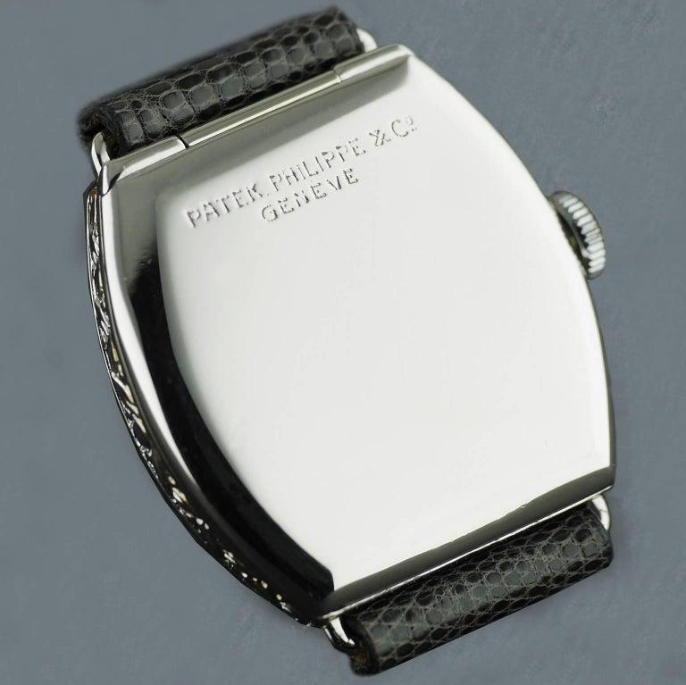 Patek Philippe Platinum Art Deco Tonneau Shaped Manual Wristwatch, 1938 For Sale 3