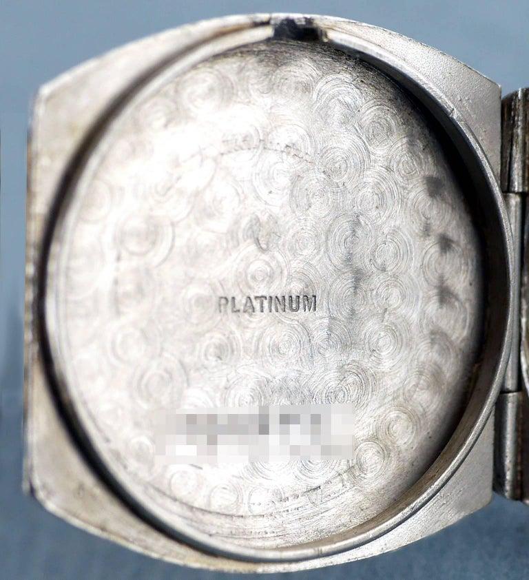 Patek Philippe Platinum Art Deco Tonneau Shaped Manual Wristwatch, 1938 For Sale 4