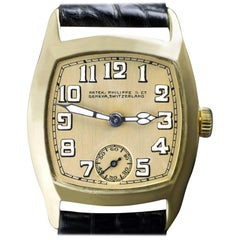 Patek Philippe Yellow Gold Art Deco Tonneau Shaped Manual Wristwatch, 1926