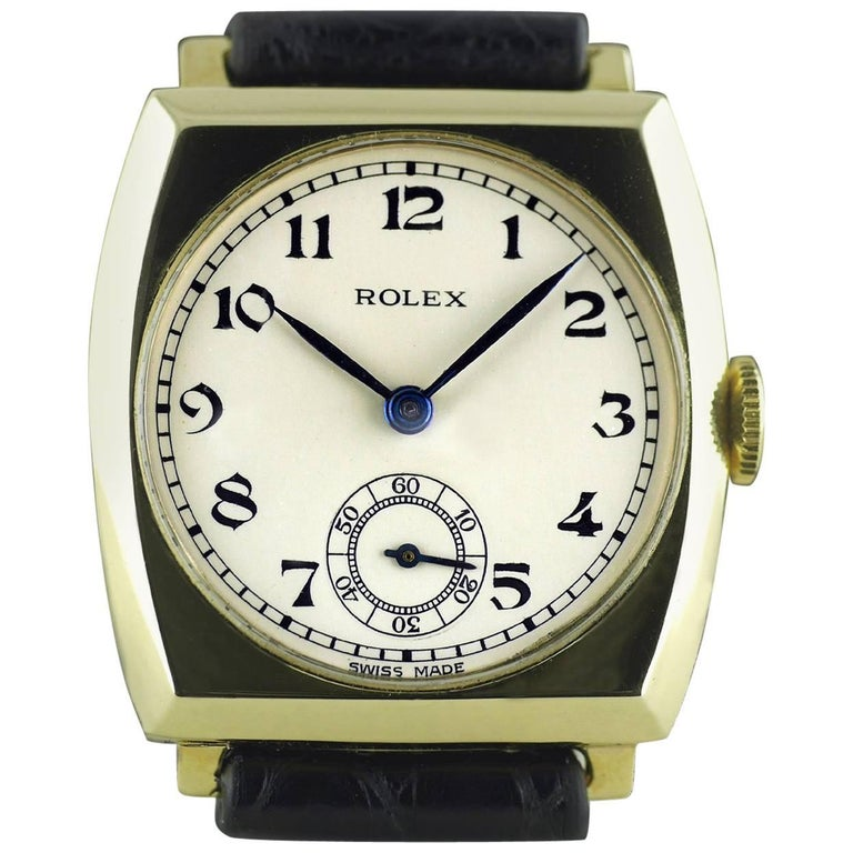 Rolex Yellow Gold Art Deco Tonneau Wristwatch, 1937 For Sale