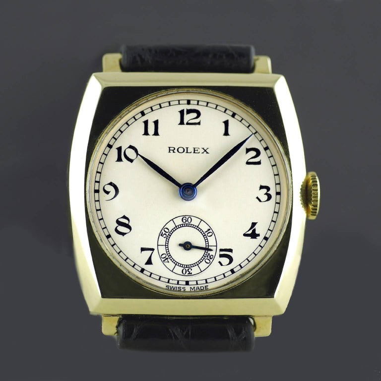 Rolex Yellow Gold Art Deco Tonneau Wristwatch, 1937 In Excellent Condition For Sale In London, GB