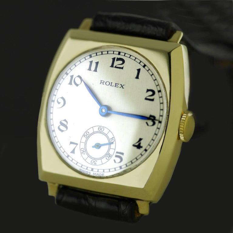 Women's or Men's Rolex Yellow Gold Art Deco Tonneau Wristwatch, 1937 For Sale
