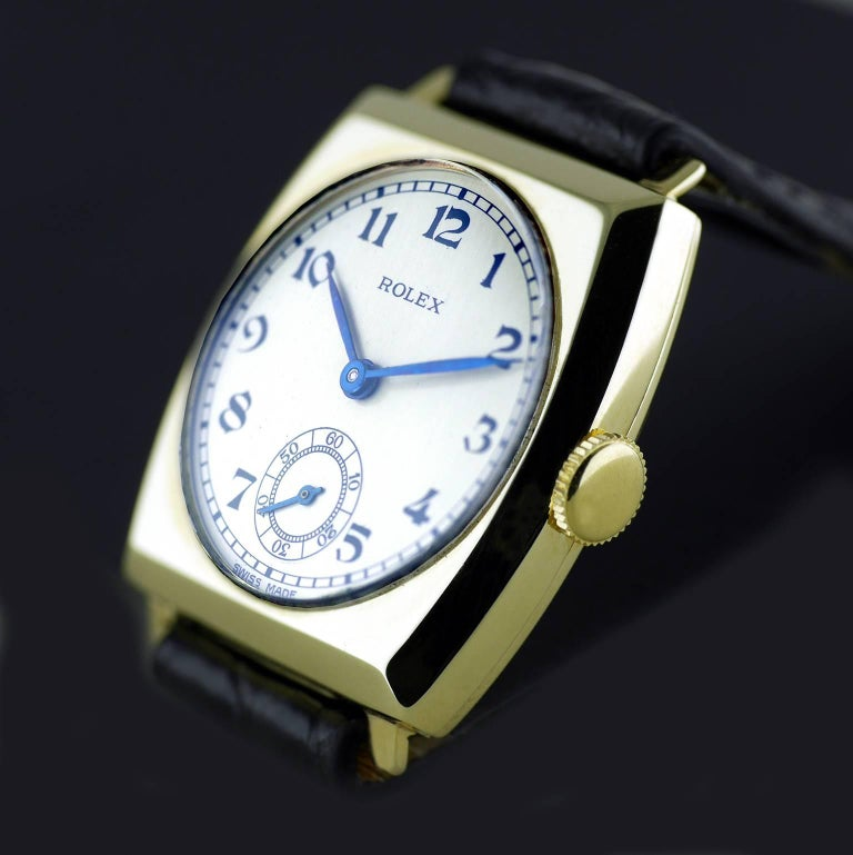 Rolex Yellow Gold Art Deco Tonneau Wristwatch, 1937 For Sale 1