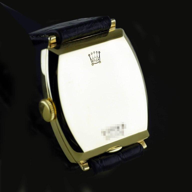 Rolex Yellow Gold Art Deco Tonneau Wristwatch, 1937 For Sale 2