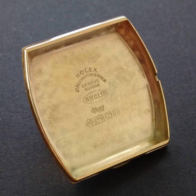 Rolex Yellow Gold Art Deco Tonneau Wristwatch, 1937 For Sale 3