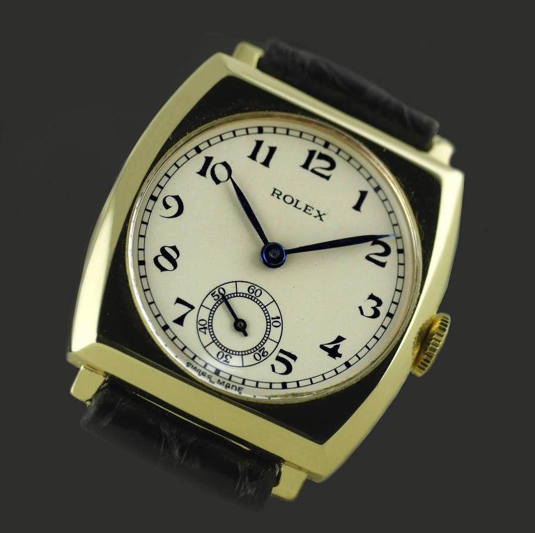 Rolex Yellow Gold Art Deco Tonneau Wristwatch, 1937 For Sale 5