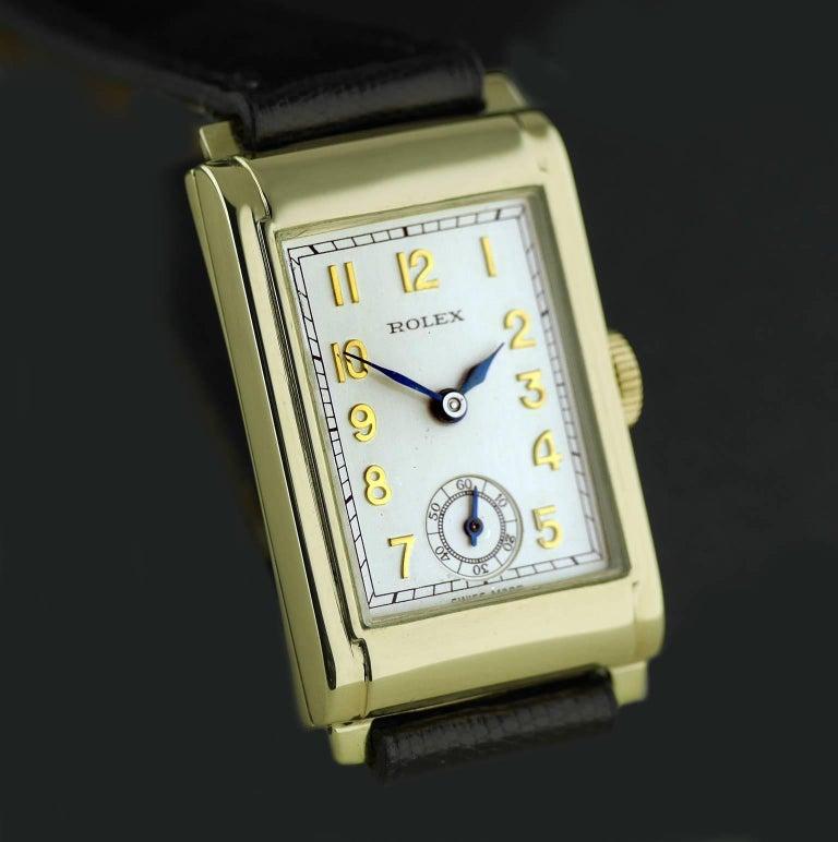 Women's Rolex Yellow Gold Art Deco Railway Mechanical Wristwatch, 1934 For Sale